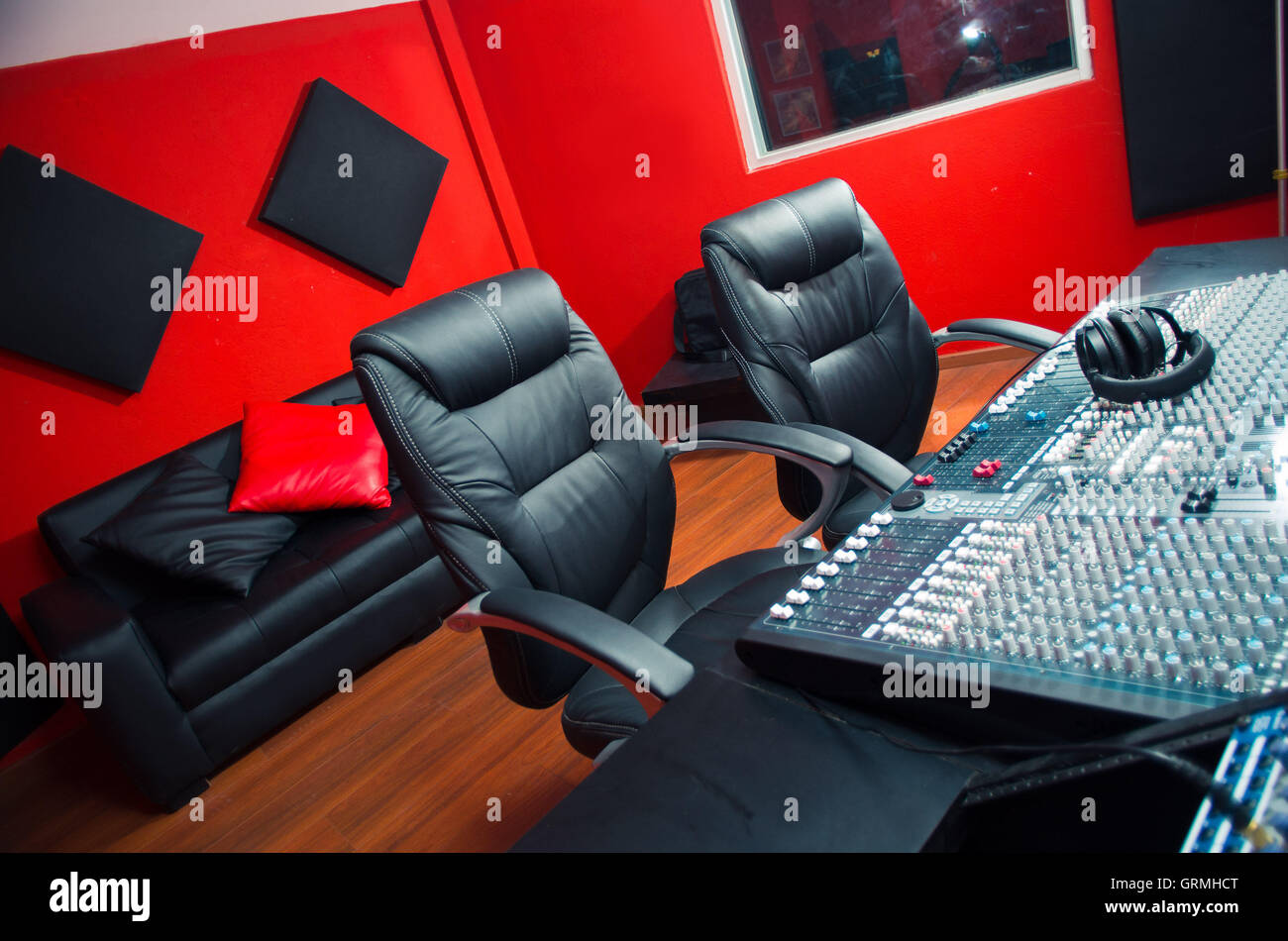 Recording studio chair -  Classy Professional Recording Studio Setup Large Desk With Mixing Console And Two Chairs Window