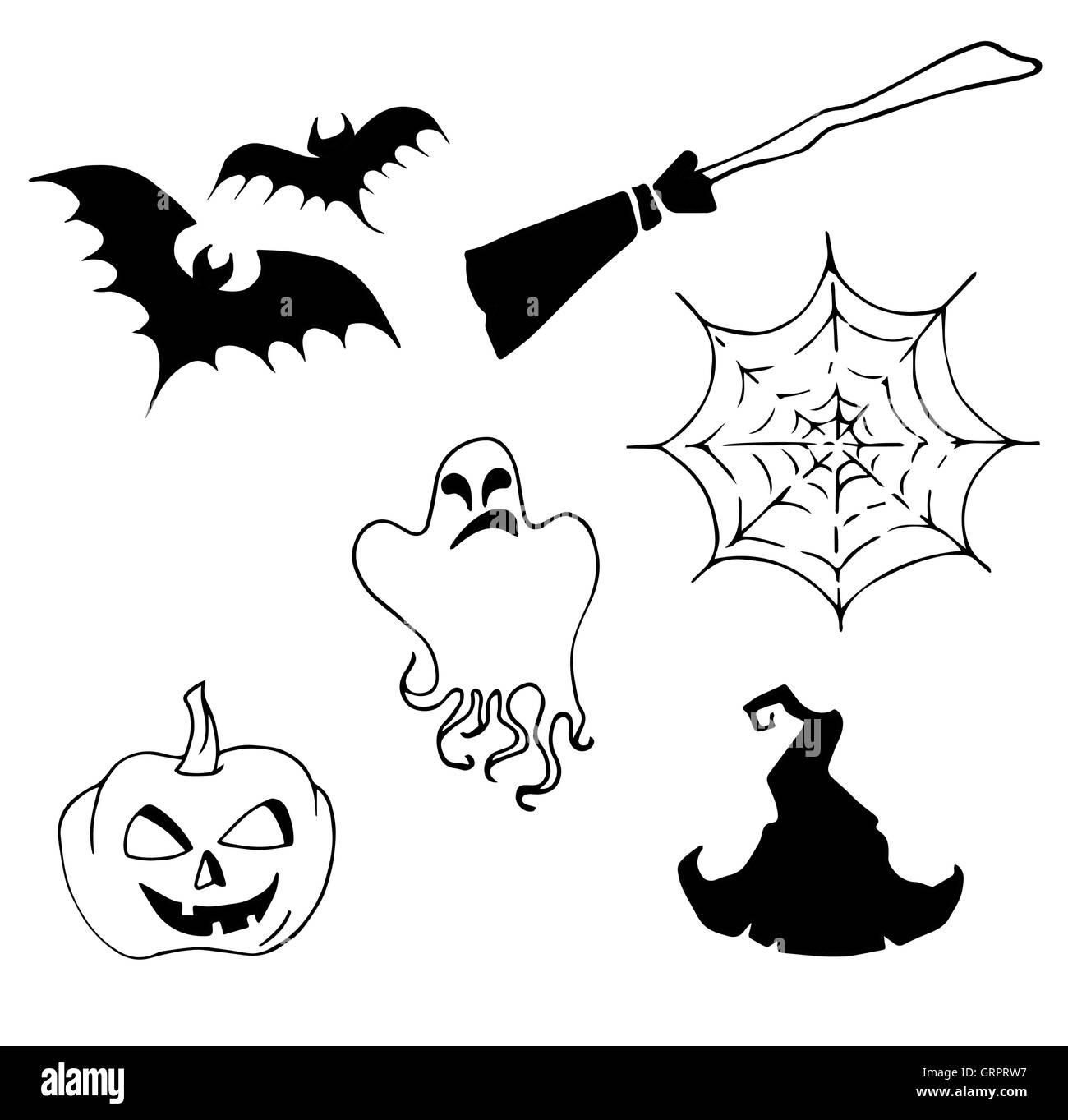 Halloween set, drawn Halloween symbols pumpkin, broom, bat, spider ...