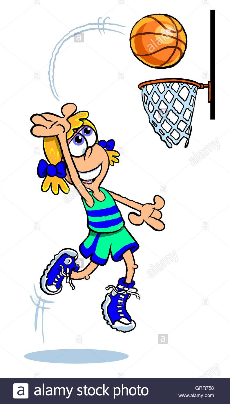 Girl shooting basketball drawing