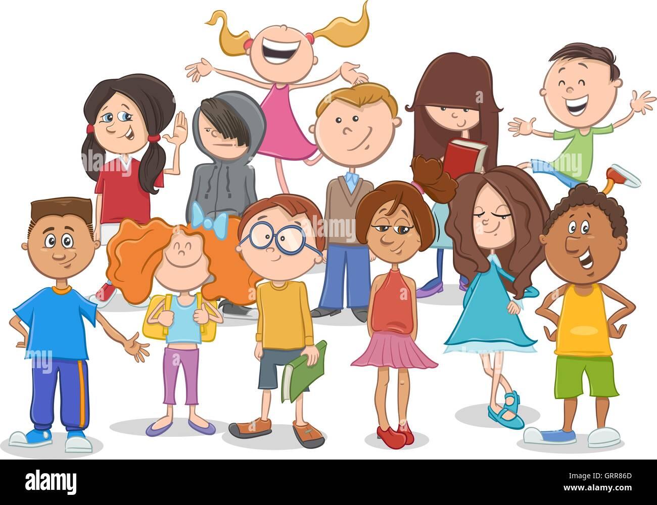 cartoon illustration of elementary age children or teen