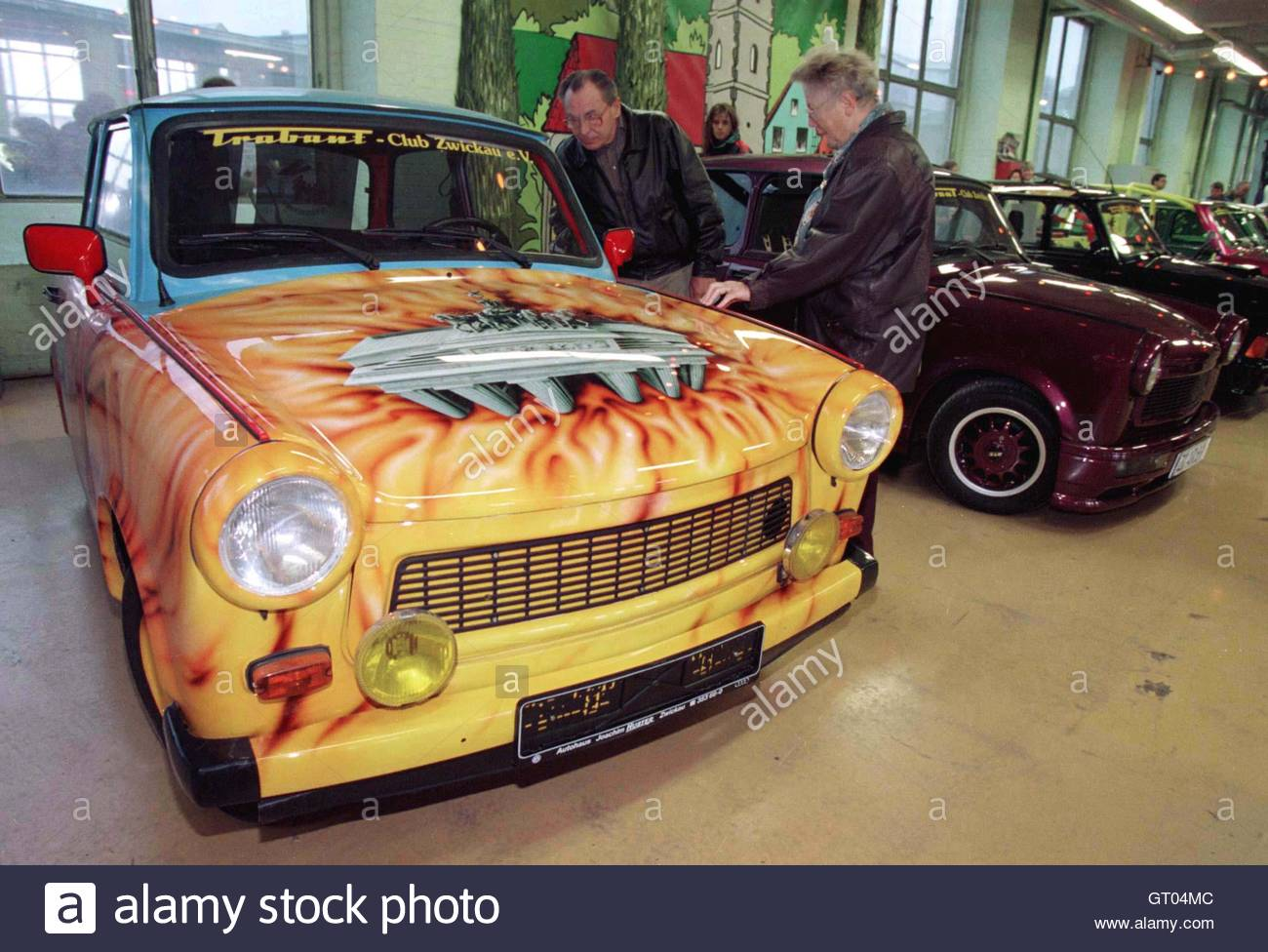 Colored cars zwickau - Colored Cars Zwickau An Unidentified Couple Look At A Trabant Trabi Car Colored With The