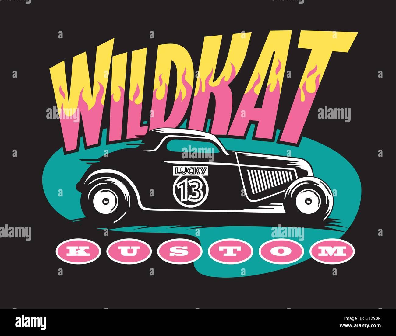 Wildkat Kustom hot rod design. Cool retro logo with old school ...