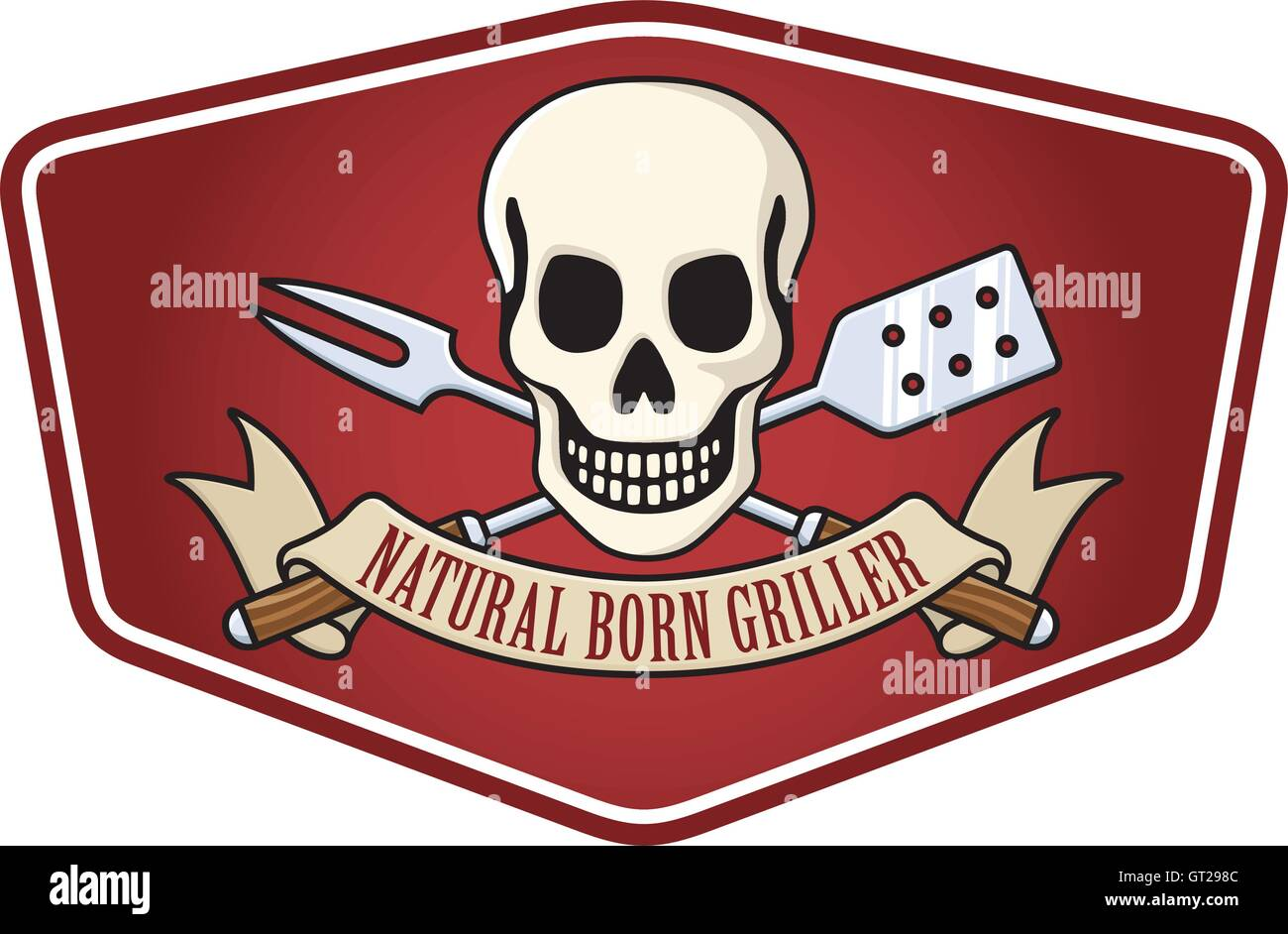 natural born griller barbecue logo with cow skull and crossed