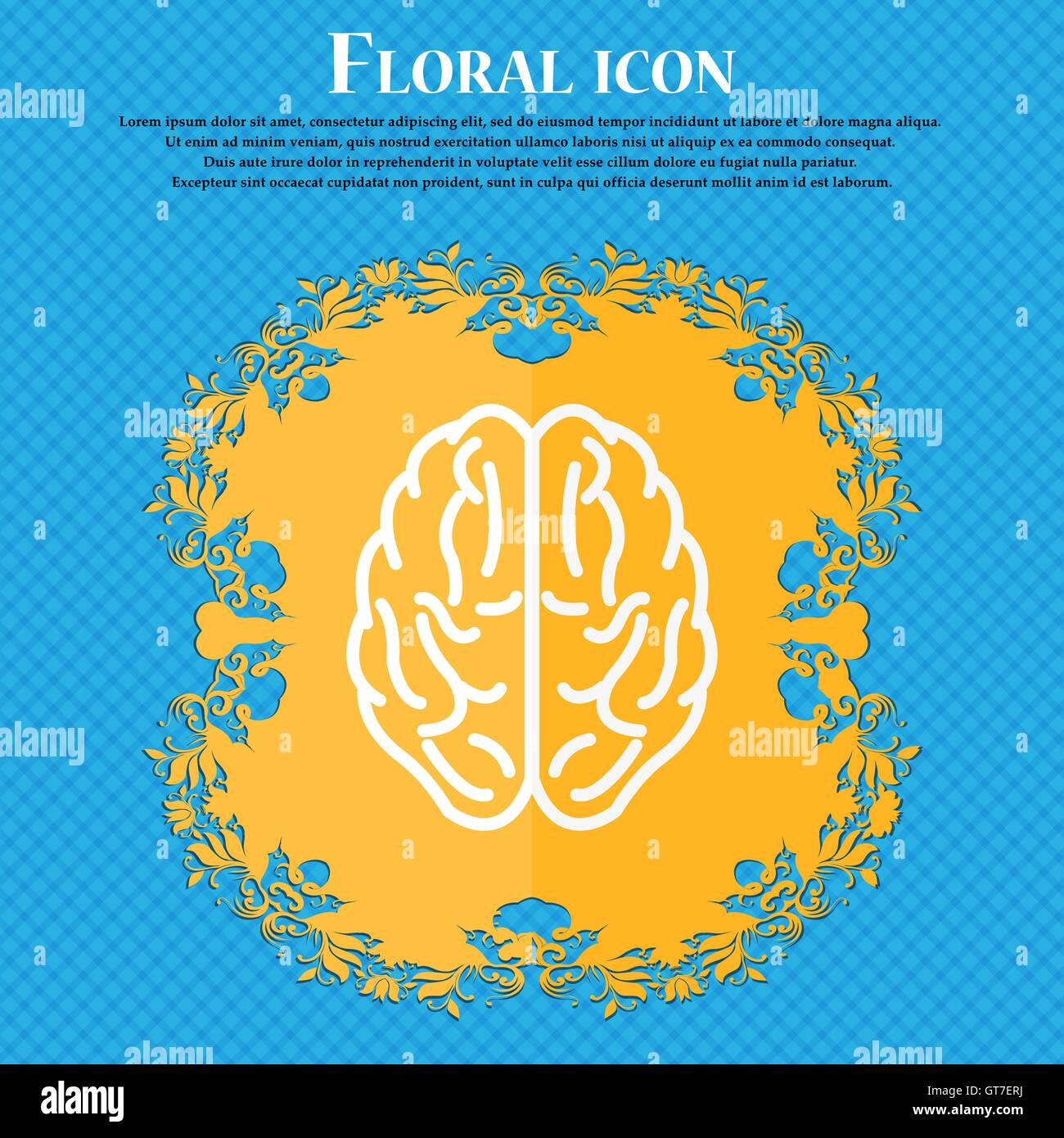 Brain icon floral flat design on a blue abstract background with brain icon floral flat design on a blue abstract background with place for your text vector biocorpaavc Images