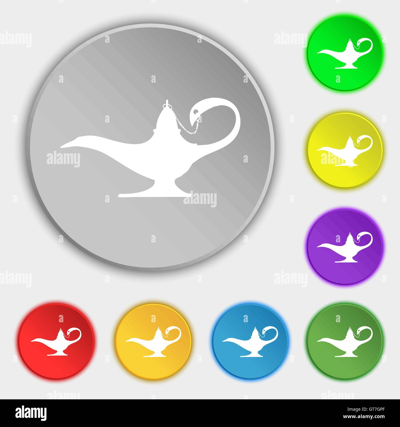 Alladin lamp genie icon sign. Symbol on eight flat buttons. Vector ... for Genie Icon  143gtk