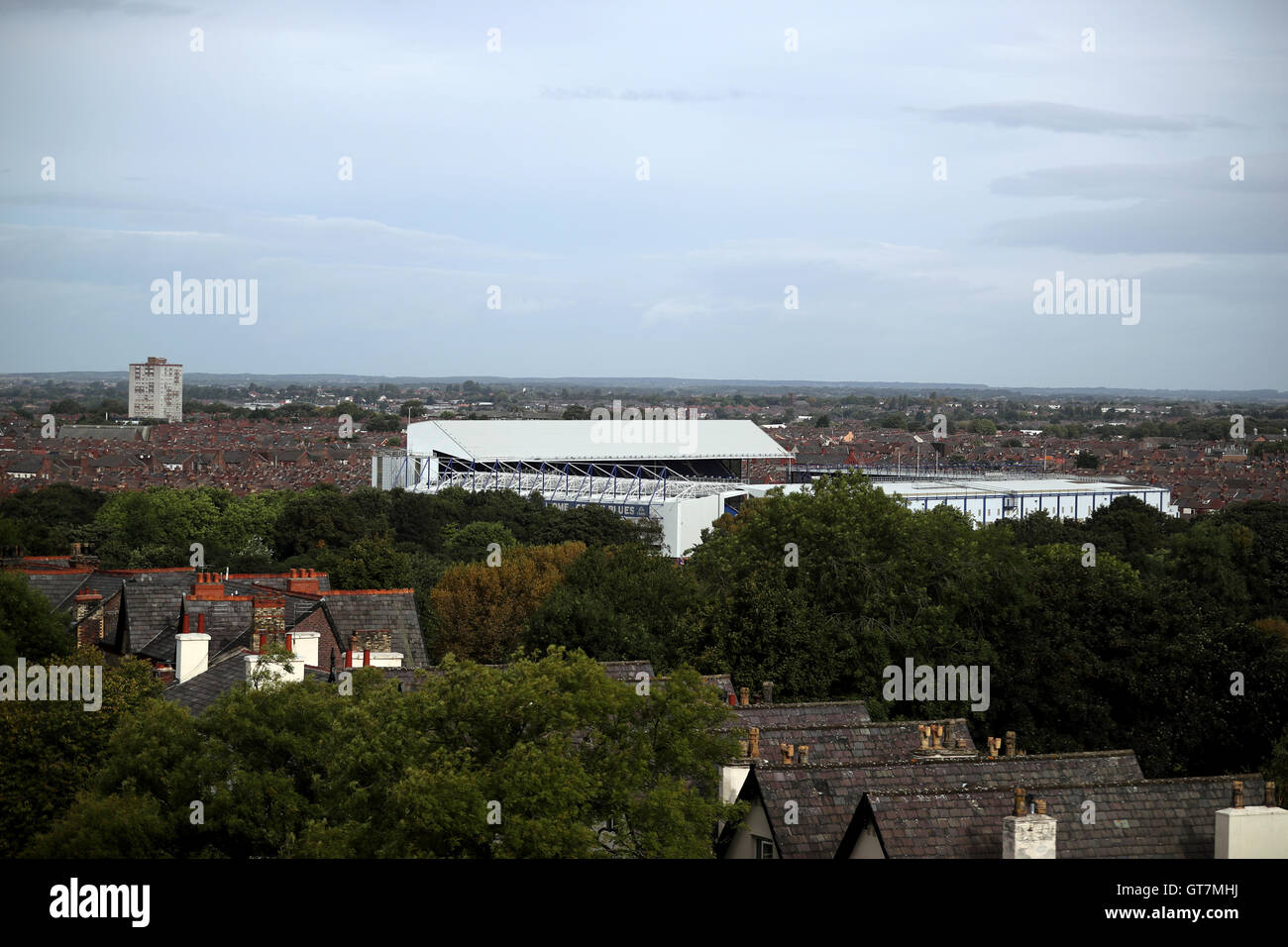 Goodison Park Home Of Everton FC Can Be Seen From Anfield Stadium Liverpool Following The Opening New Main Stand