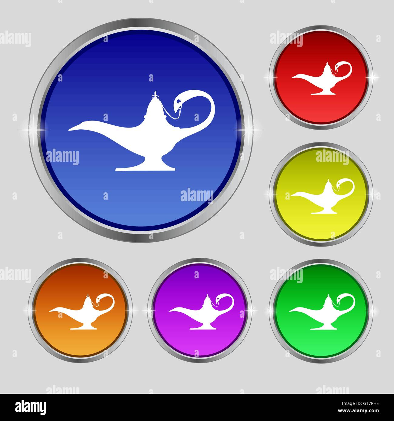 Alladin lamp genie icon sign. Round symbol on bright colourful ... for Genie Icon  269ane