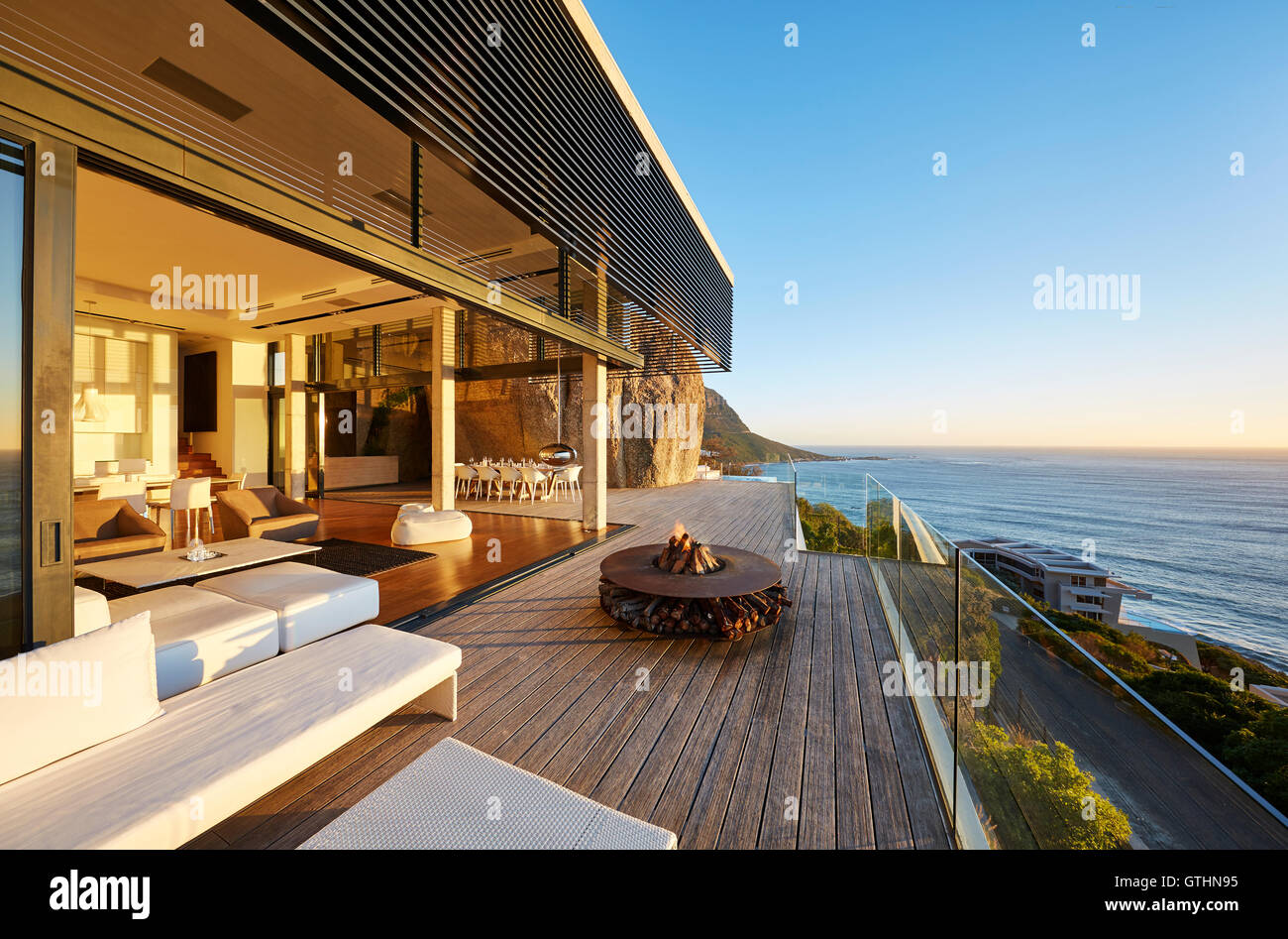 Modern Luxury Patio With Fire Pit And Ocean View