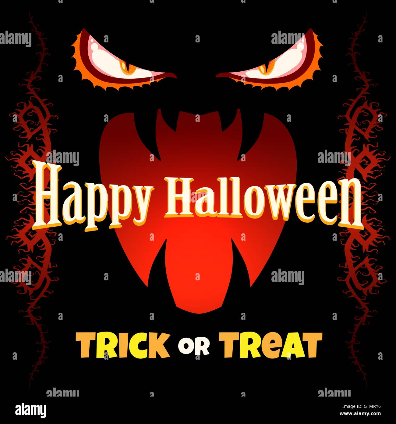 Happy Halloween Poster or Invitation Card. Monster Eyes and Scary ...