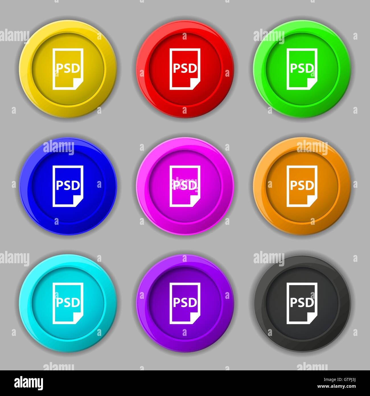 Psd icon sign symbol on nine round colourful buttons vector psd icon sign symbol on nine round colourful buttons vector buycottarizona