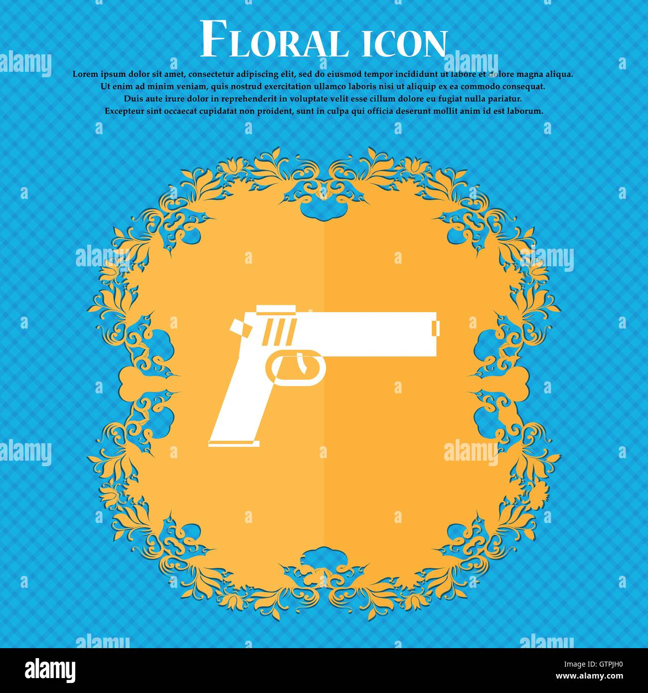 Gun icon icon floral flat design on a blue abstract background gun icon icon floral flat design on a blue abstract background with place for your text vector biocorpaavc