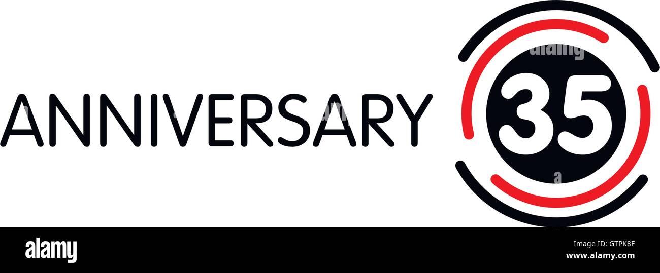 Anniversary Vector Unusual Label Thirty Fifth Anniversary Symbol