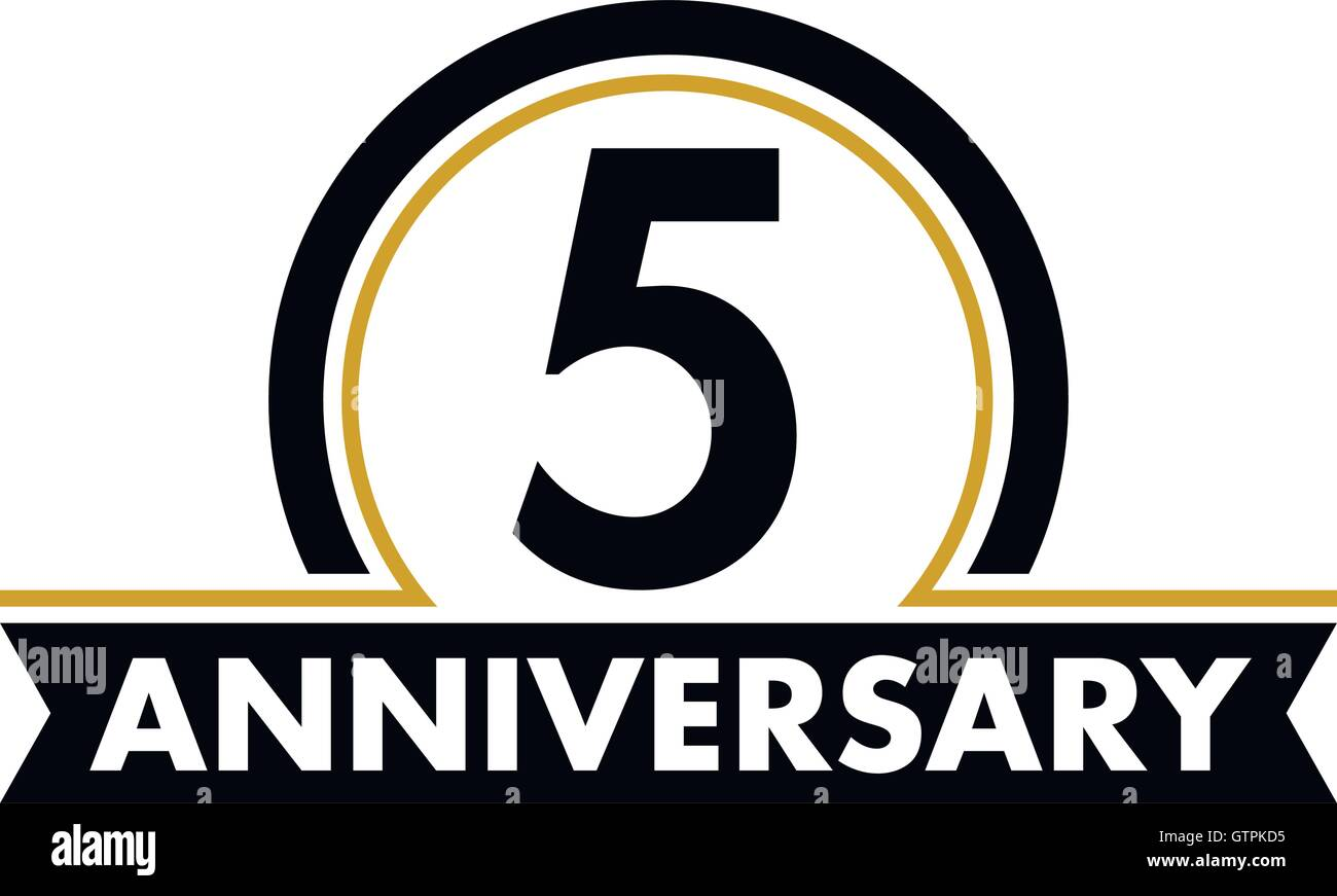 Anniversary vector unusual label fifth anniversary symbol 5 anniversary vector unusual label fifth anniversary symbol 5 years birthday abstract logo the arc in a circle 5th jubilee biocorpaavc Gallery