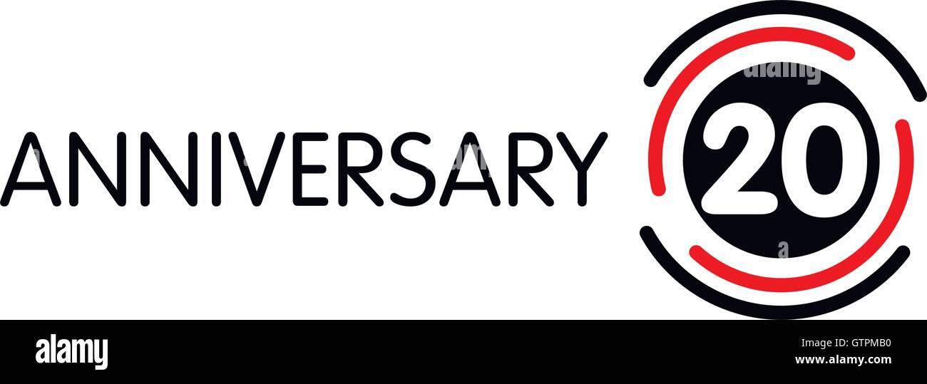 Anniversary Vector Unusual Label Twentieth Anniversary Symbol 20