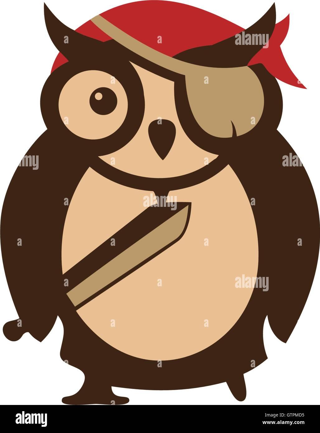 cartoon logo icon template owl design pirate icon logo vector