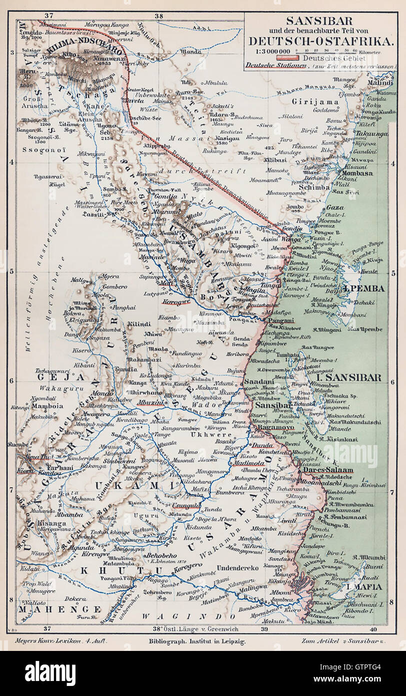 GERMAN EAST AFRICA WITH ZANZIBAR Map about 1890 Stock Photo