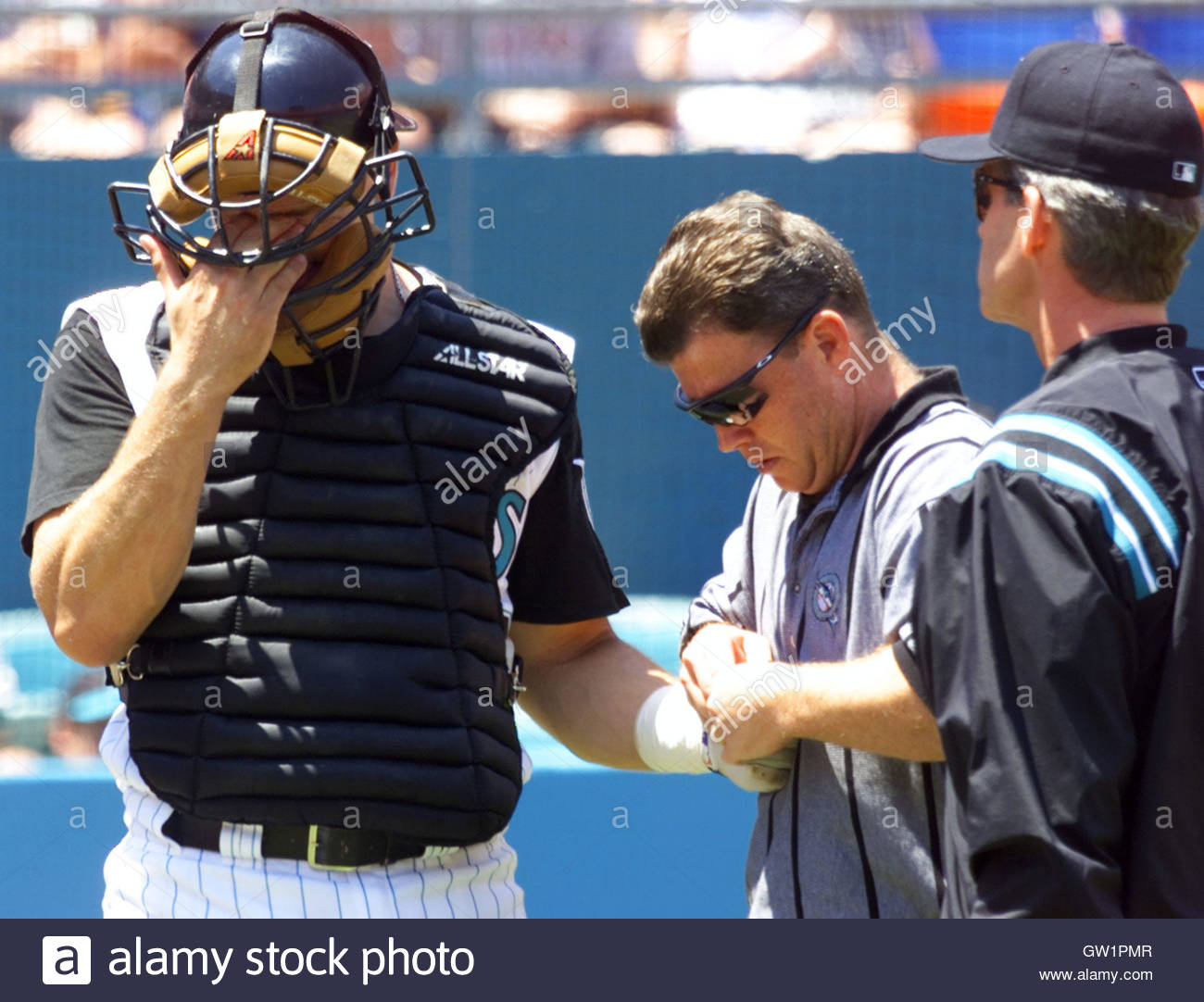 florida marlins catcher paul bako l reacts to the pain as florida marlins catcher paul bako l reacts to the pain as trainer larry starr c works on a dislocated finger 26 while manager john boles r