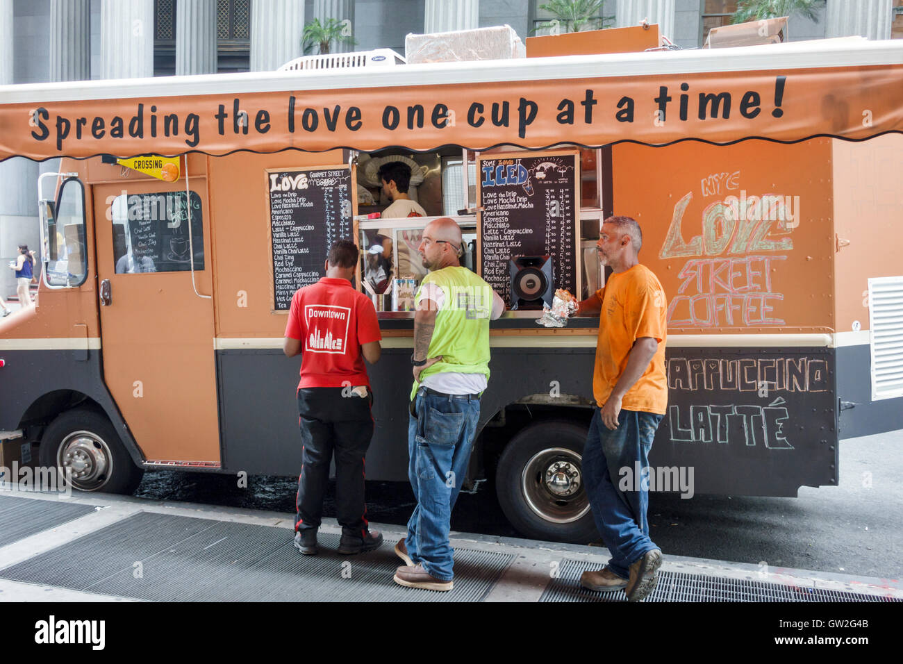 Lower Manhattan New York City NYC NY Love Street Coffee Food Truck Mobile Business Cappuccino Latte Black Man Worker Customer