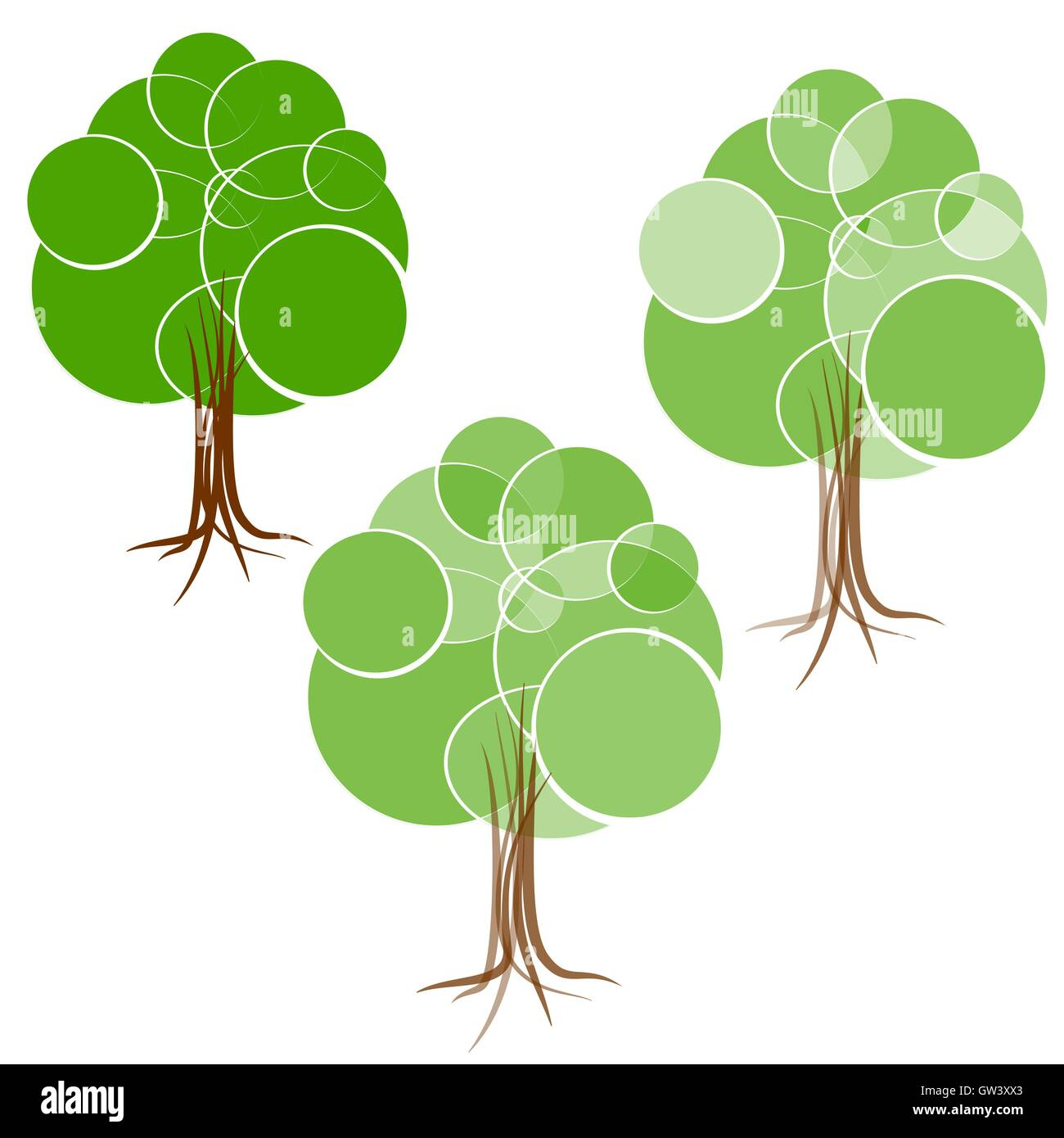 cartoon green summer tree with a crown of circles different stock