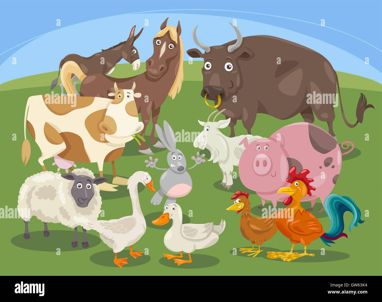 farm animals group cartoon stock vector art u0026 illustration vector