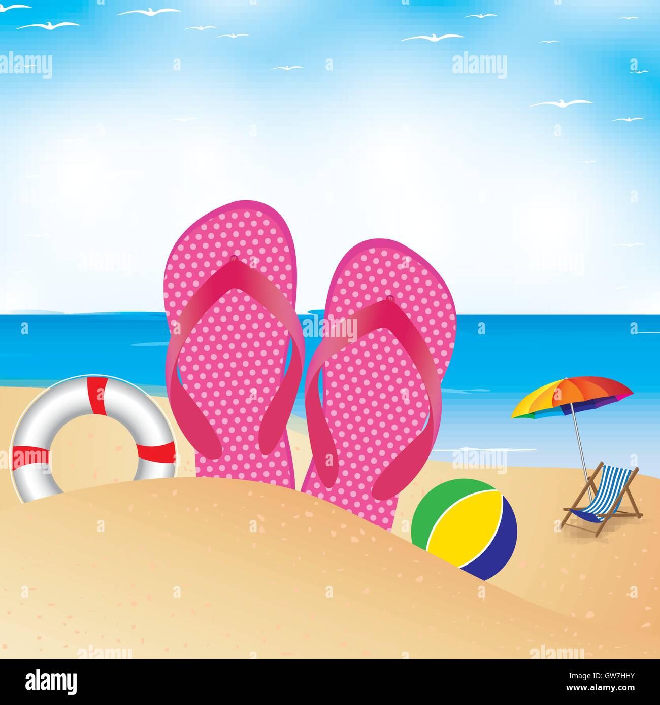 Flip Flop Chair Beach Chair Vector Illustration Summer Umbrella Background