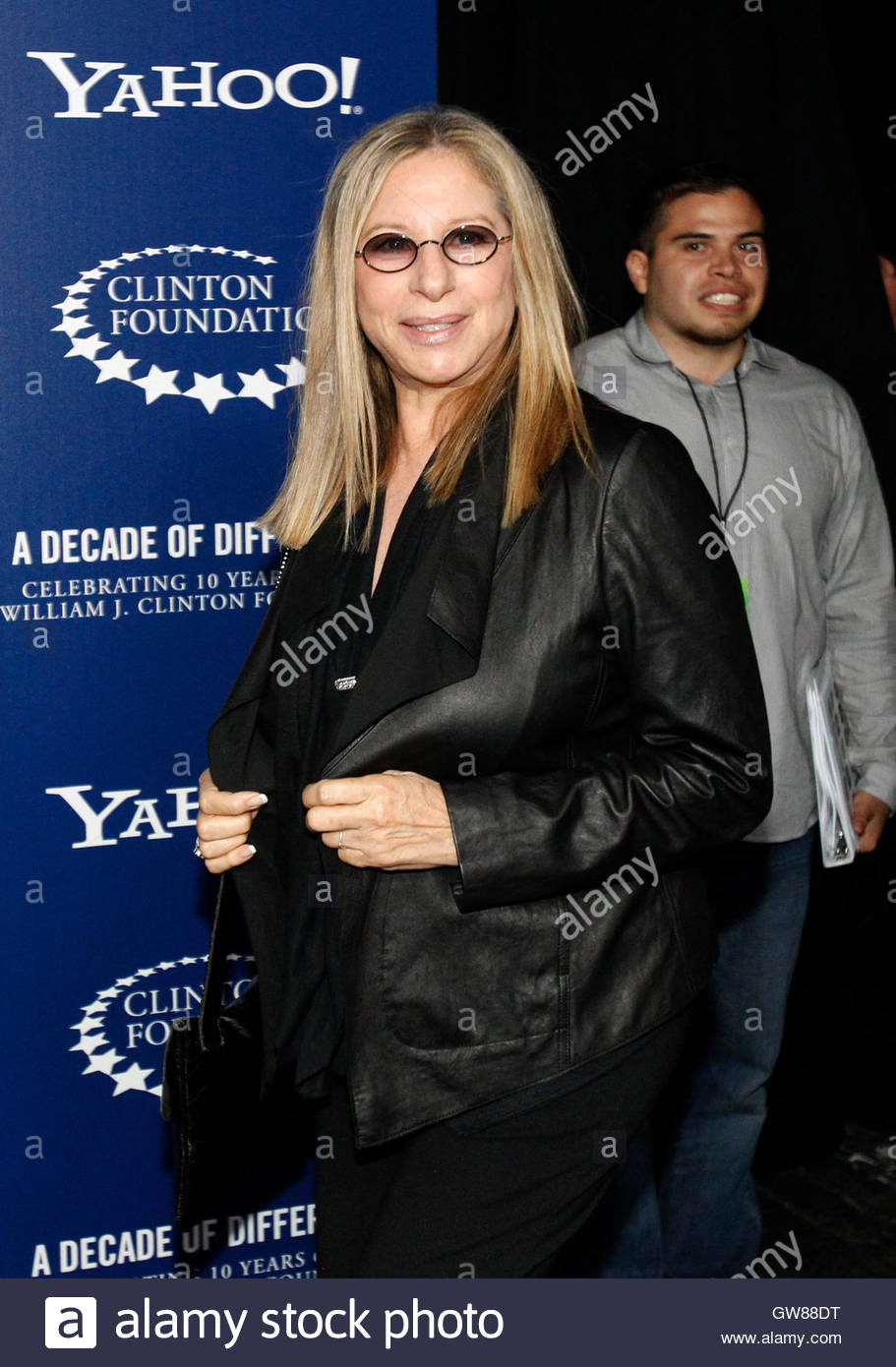 Leather jacket decade - Actress And Singer Barbra Streisand Arrives For A Decade Of Difference A Concert Celebrating 10 Years Of The William J Clinton Foundation At The