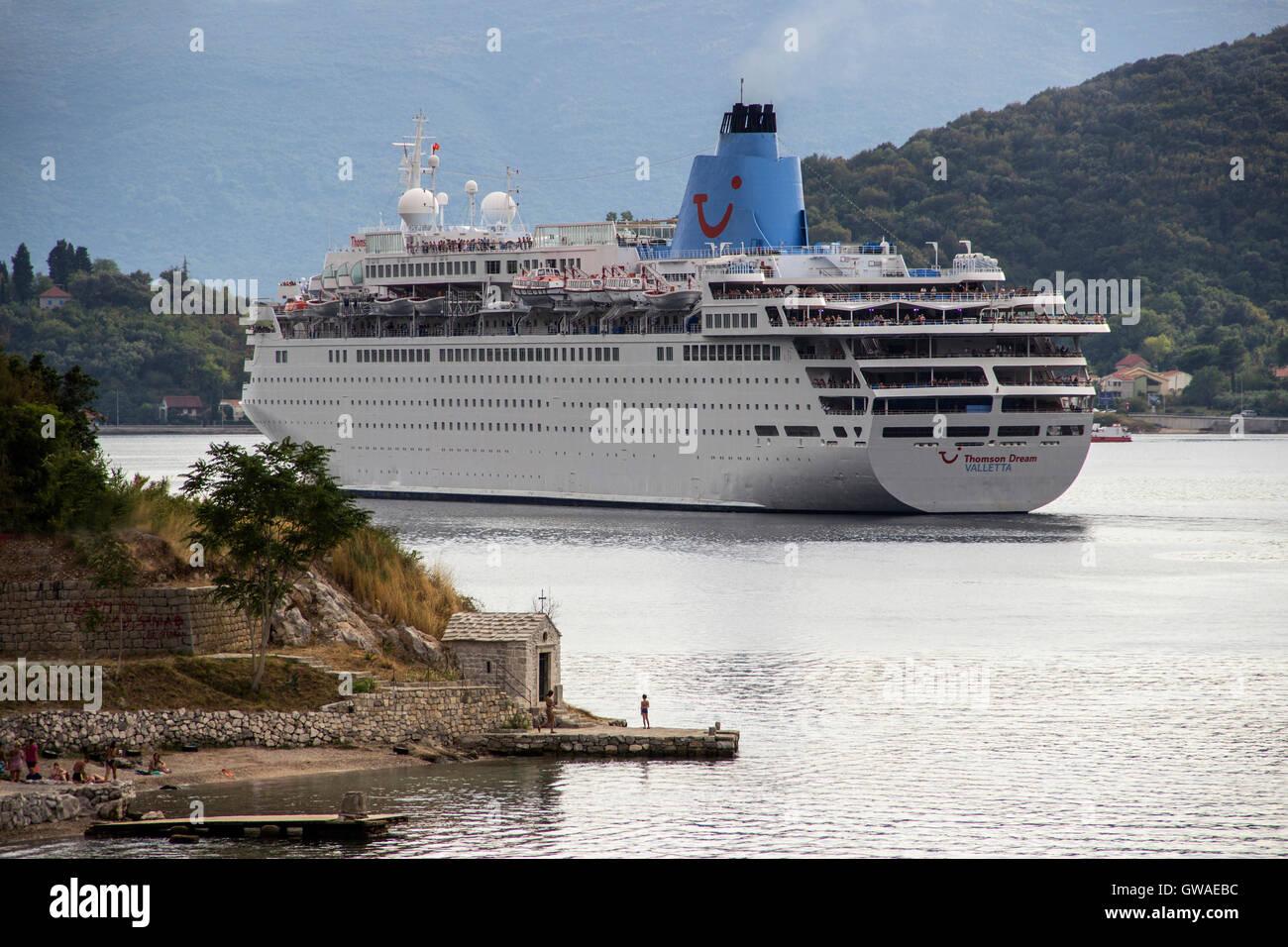Bay Of Kotor Montenegro The Cruise Ship THOMSON DREAM Passing - Thomson dream cruise ship latest news