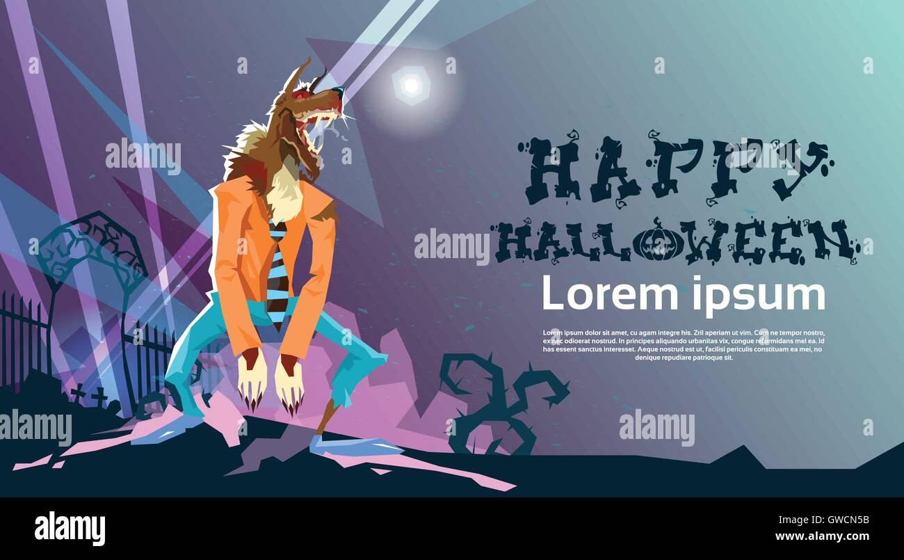 Werewolf Monster Happy Halloween Party Invitation Card Stock Vector ...