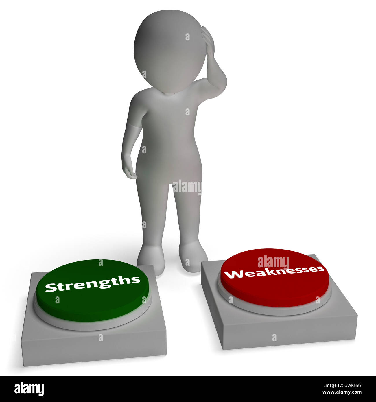 strengths weaknesses buttons shows weakness or strength stock stock photo strengths weaknesses buttons shows weakness or strength