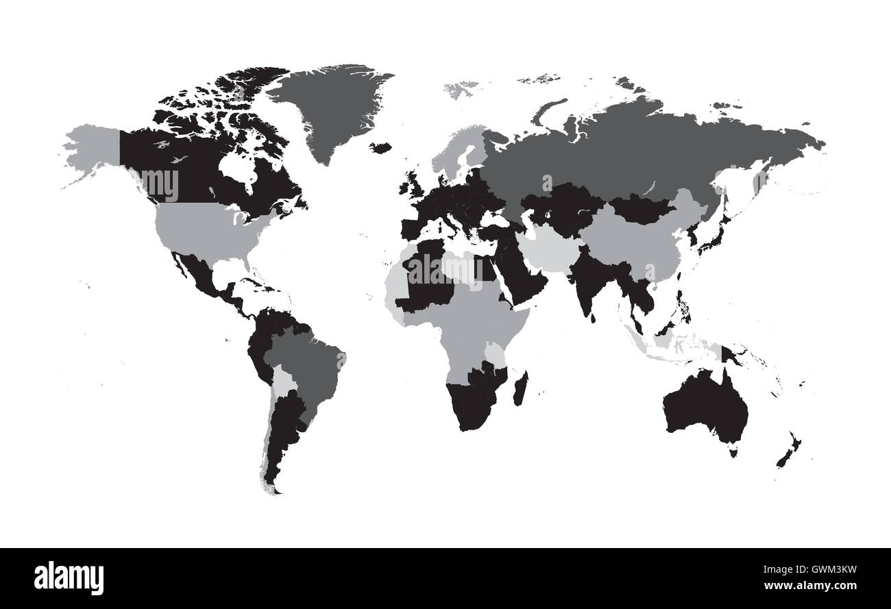 World map vector flat with countries black and white stock photo world map vector flat with countries black and white gumiabroncs Choice Image