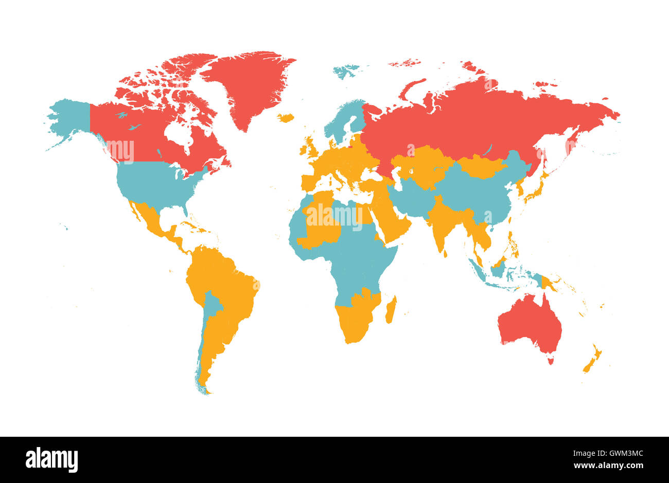 World Map Vector Flat With Countries Stock Photo Royalty Free - Map of the globe with countries