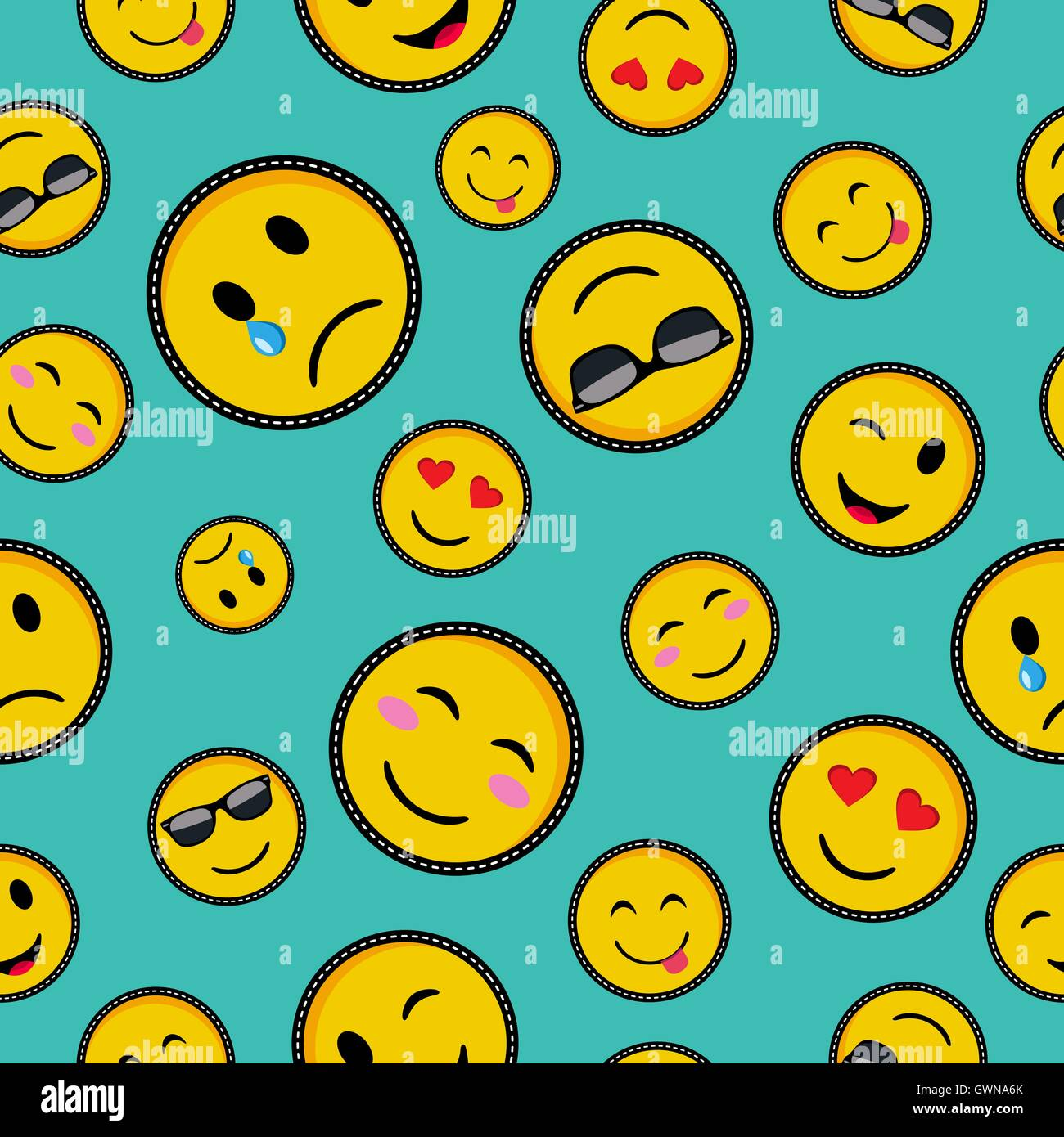 Seamless pattern with vibrant color emoji smiley face icons seamless pattern with vibrant color emoji smiley face icons trendy texting symbols in pop art style eps10 vector biocorpaavc Images