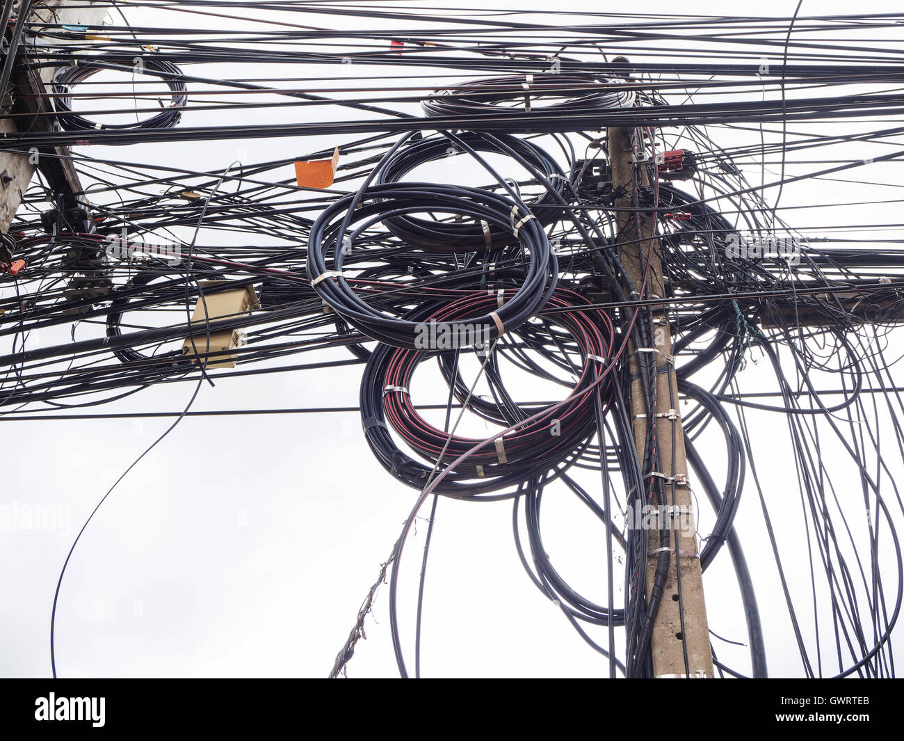 Chaos of cables and wires on electric pole in Chiang Mai,Thailand ...