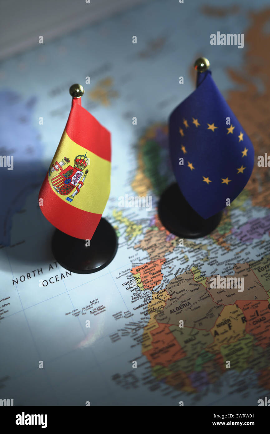 spain and eu flags stock photo royalty free image 119153105 alamy