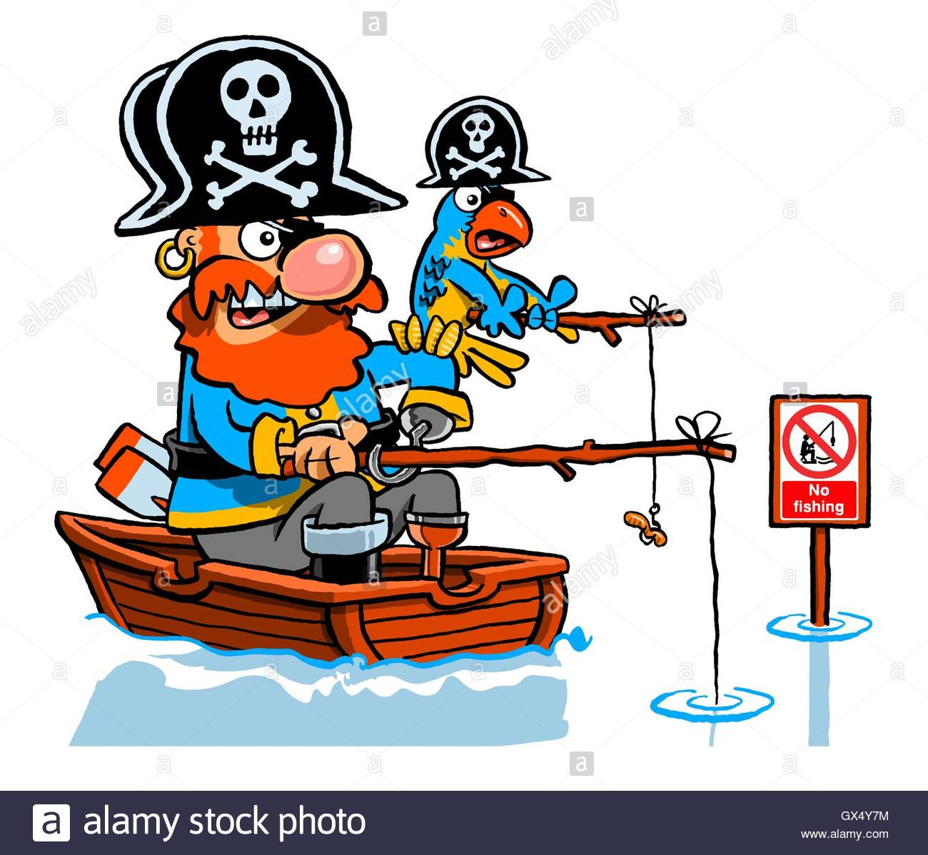 Cartoon caricature of pirate and parrot fishing in a boat for Fishing spots near me no boat