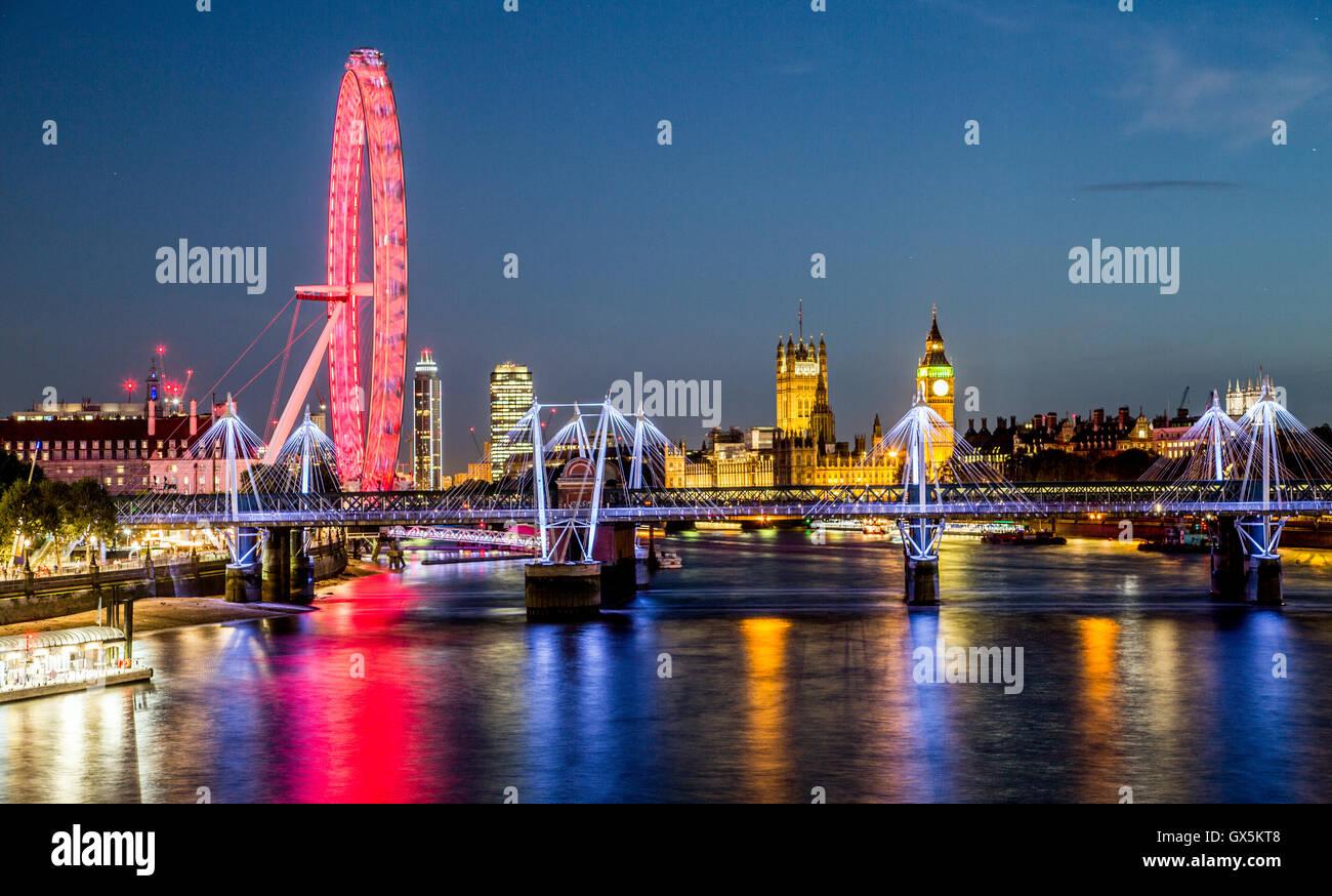 London Eye Skyline At Night