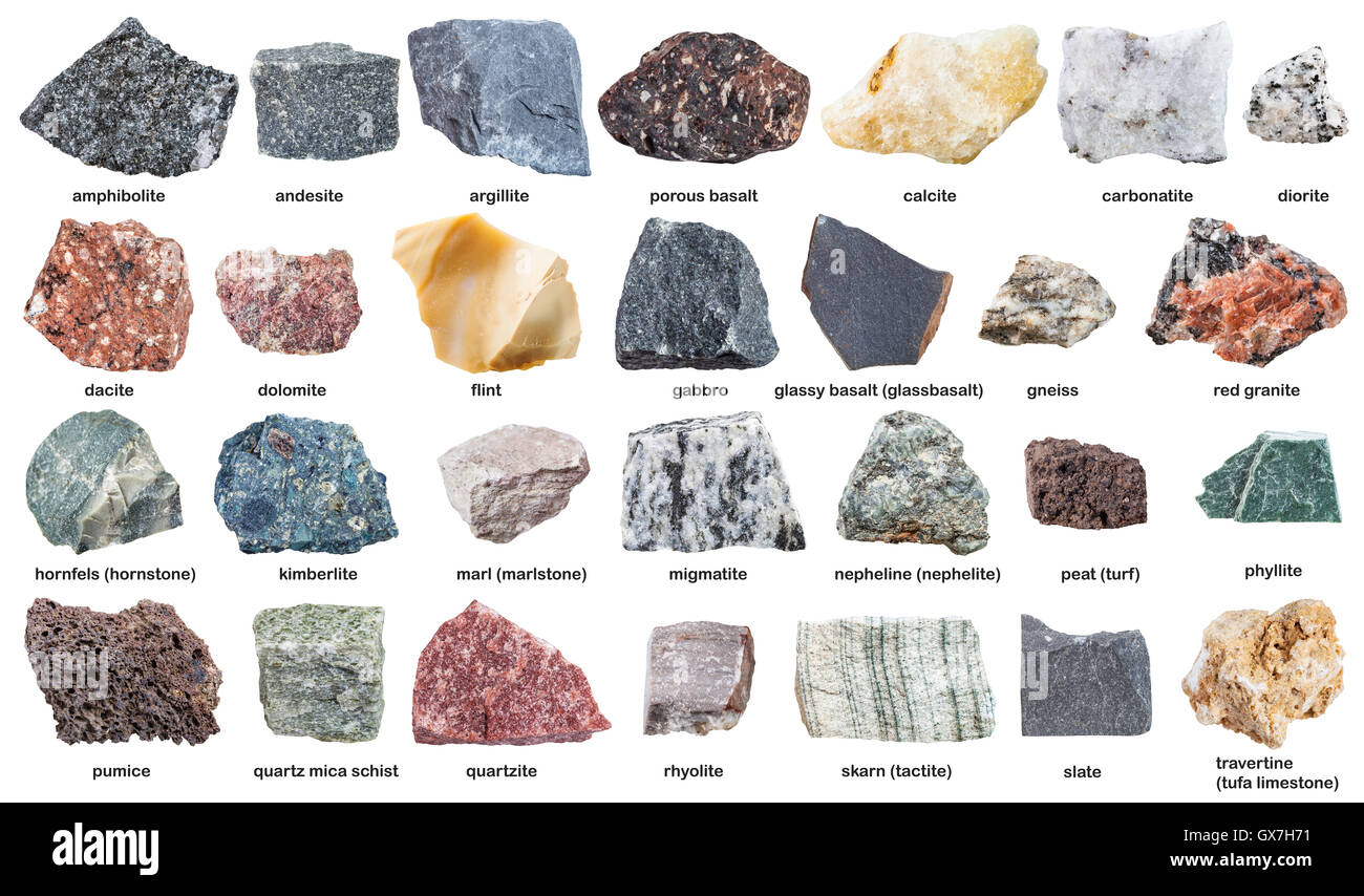 various raw stones with names isolated on white background Stock ...