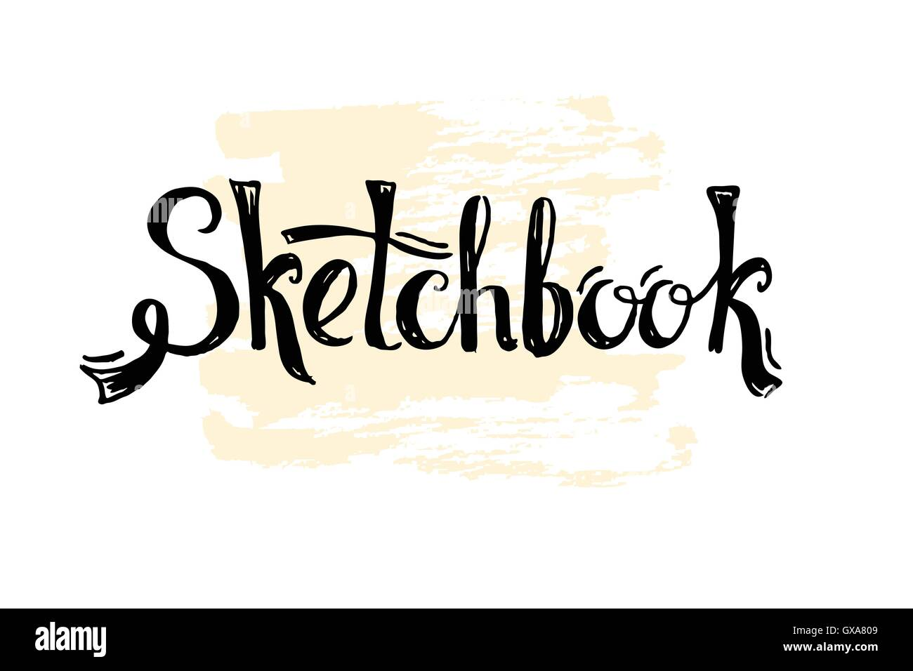 sketchbook word drawn in lettering style  cover for