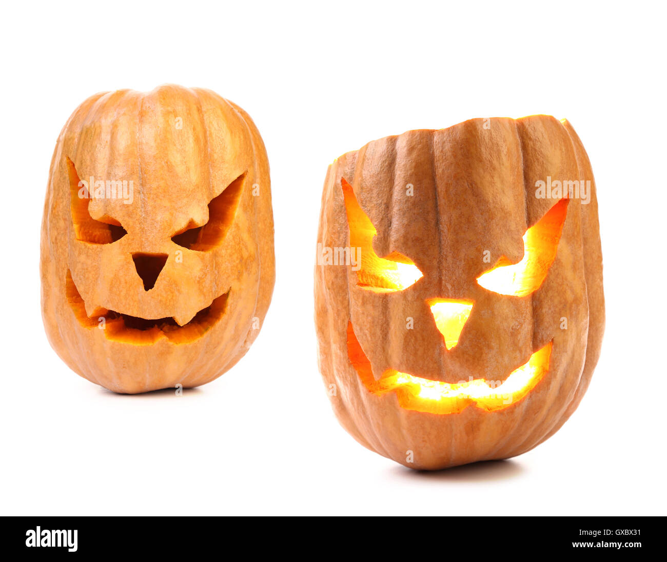 scary pumpkin head jack lantern with evil faces stock photo