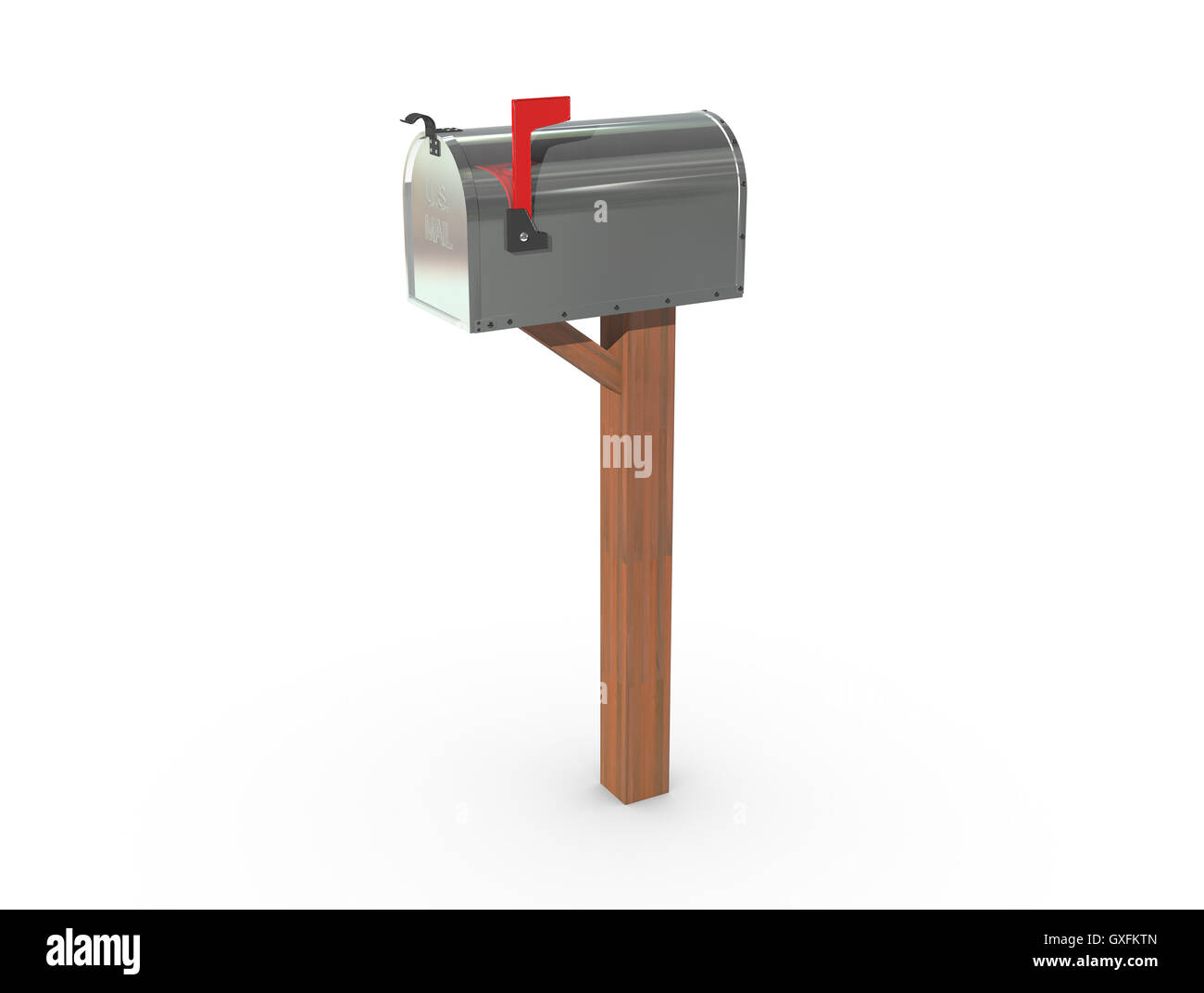 A 3D rendering of a chrome and empty US Mailbox closed with clean