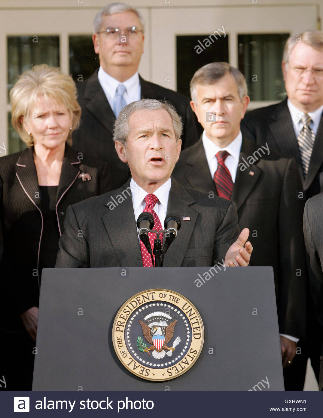 The Press Cabinet Us President George W Bush C Speaks To The Press With His