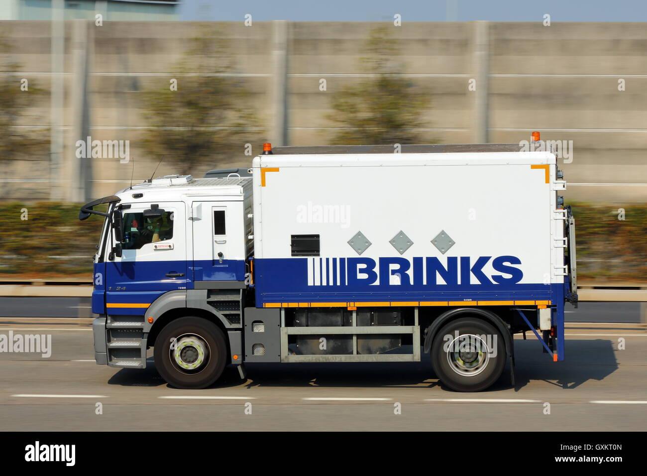 Heavy brinks armoured truck near london heathrow airport stock image
