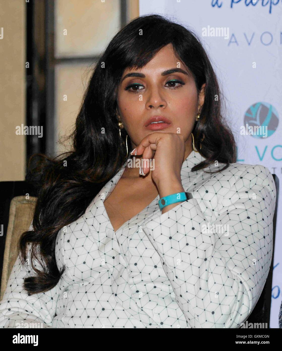 Stock Photo - Bollywood actor Richa Chadda panel discussion Gender Based Violence India organised by Avon Foundation Vital Voices Mumbai
