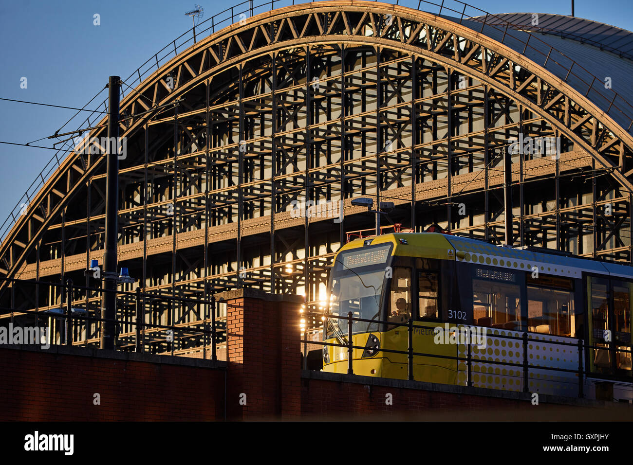 Manchester central tram passing gmex Tram sassing back Architect