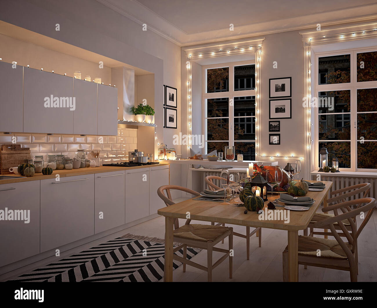 nordic kitchen in an apartment. 3D rendering. thanksgiving concept ...