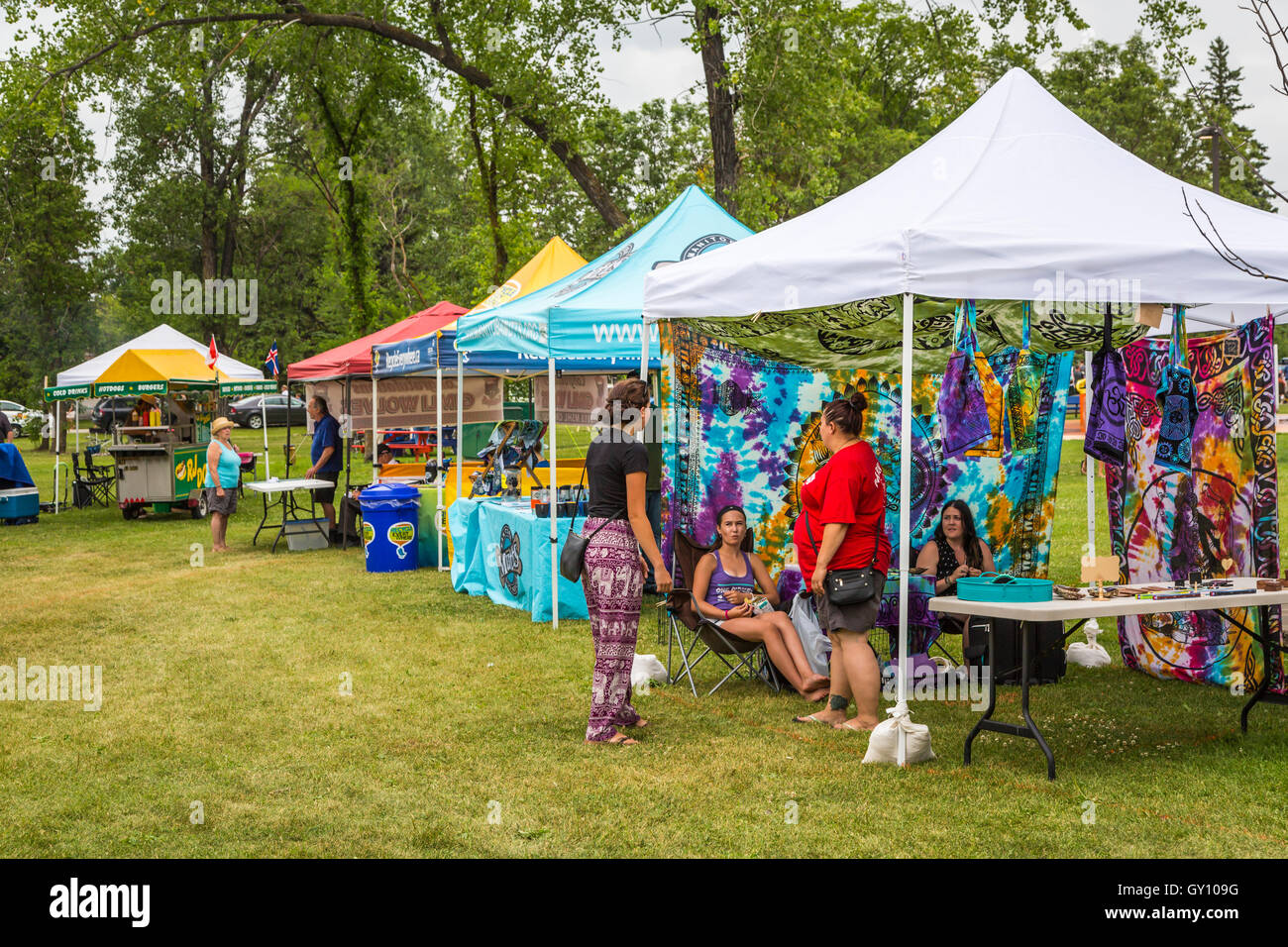 A row of craft tents at the Icelandic Festival in Gimli Manitoba Canada & A row of craft tents at the Icelandic Festival in Gimli Manitoba ...