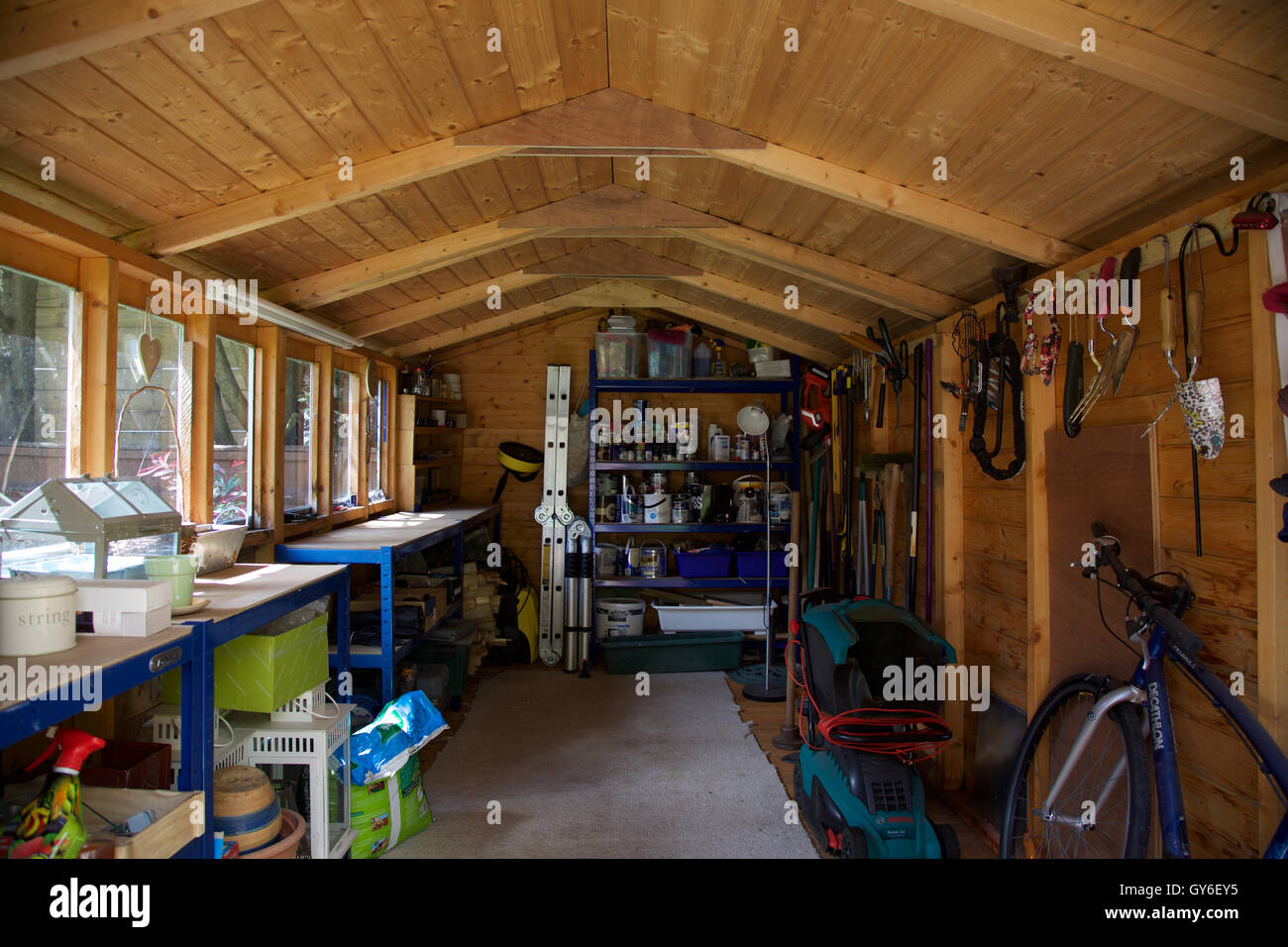 Garden Sheds Inside inside of wooden garden shed with roof with workbench hanging