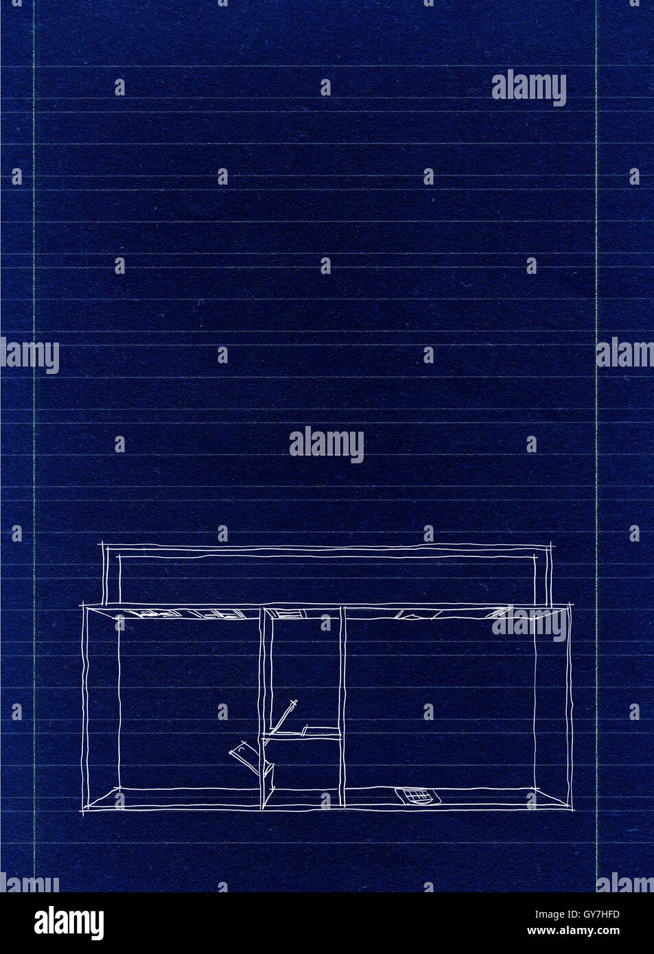 Digital 2d sketch drawing of empty home apartment on blueprint digital 2d sketch drawing of empty home apartment on blueprint paper malvernweather Image collections