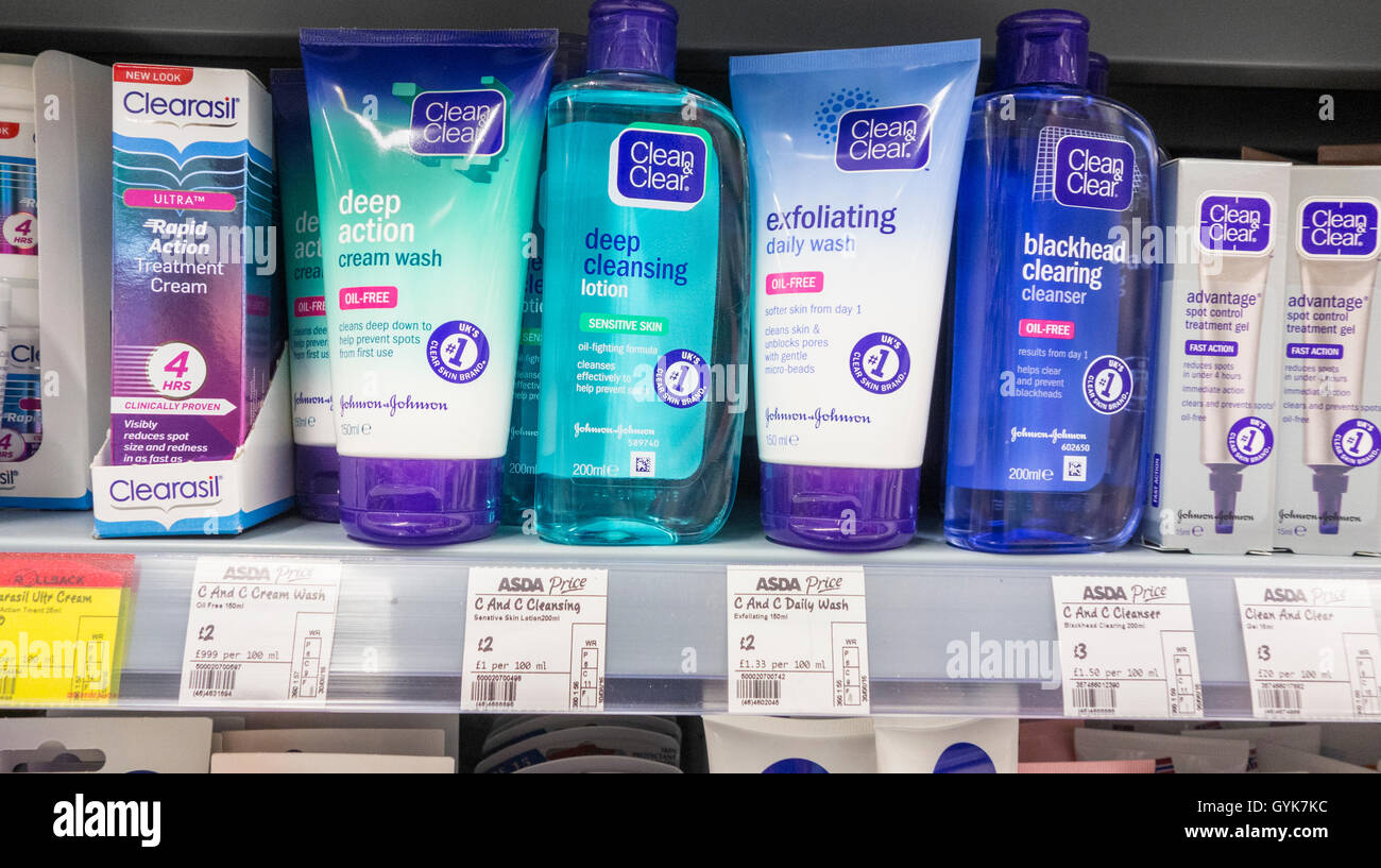 colouring books for adults asda : Clean Clear Face Cleansing Exfoliating Products In Asda Store Uk Stock Image