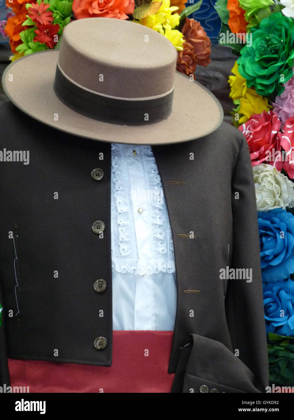 Traditional Spanish male flamenco costume with short black jacket ...